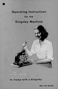 Kingsley Hot Foil Stamping Machine Owners Manual