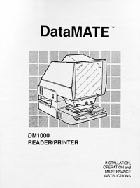 DataMate DM1000 Microfiche Reader / Printer Owners Manual