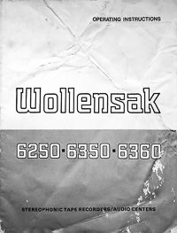 Wollensak 6250 - 6350 - 6360 Stereophonic Tape Recorder Owners Manual