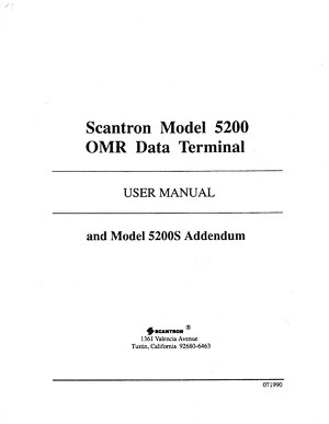 Scantron Model 5200 OMR Data Terminal Owners Manual