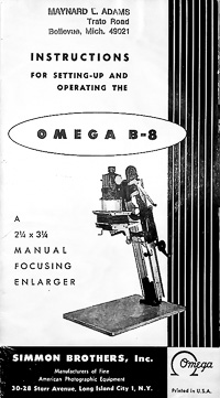 Omega B-8 Photo Enlarger Owners Manual