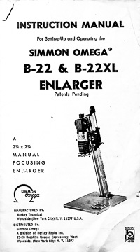 Omega B-22 & B-22XL Photo Enlarger Owners Manual