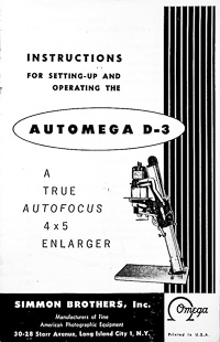 Omega Automega D-3 Auto Focus Photo Enlarger Owners Manual