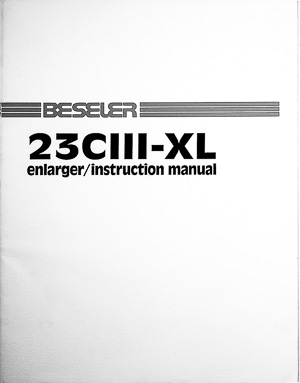 Beseler 23CIII-XL Photo Enlarger Owners Manual