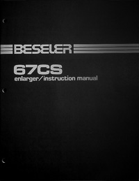 Beseler 67CS Photo Enlarger Owners Manual
