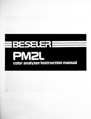 Beseler PM2L Darkroom Color Analyzer Owners Manual