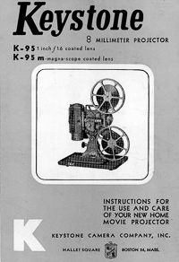Keystone K-95 8mm Movie Projector Instruction Manual