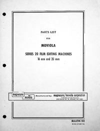 Moviola Series 20 Film Editing Machines Parts Manual