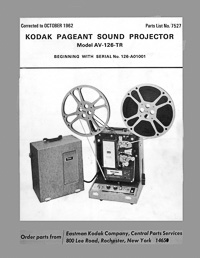 Kodak AV-126-TR Pageant Sound 16mm Movie Projector Parts Manual
