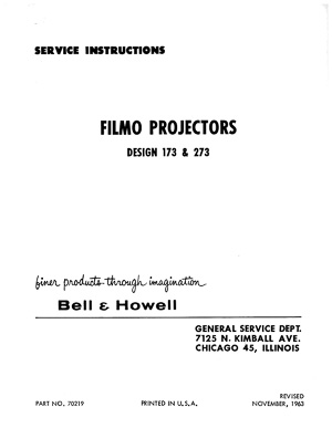 Bell & Howell 173 and 273 16mm Filmo Projector Service and Parts Manual
