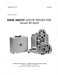 Kodak Analyst BP-16AR Movie Projector Service and Parts Manual