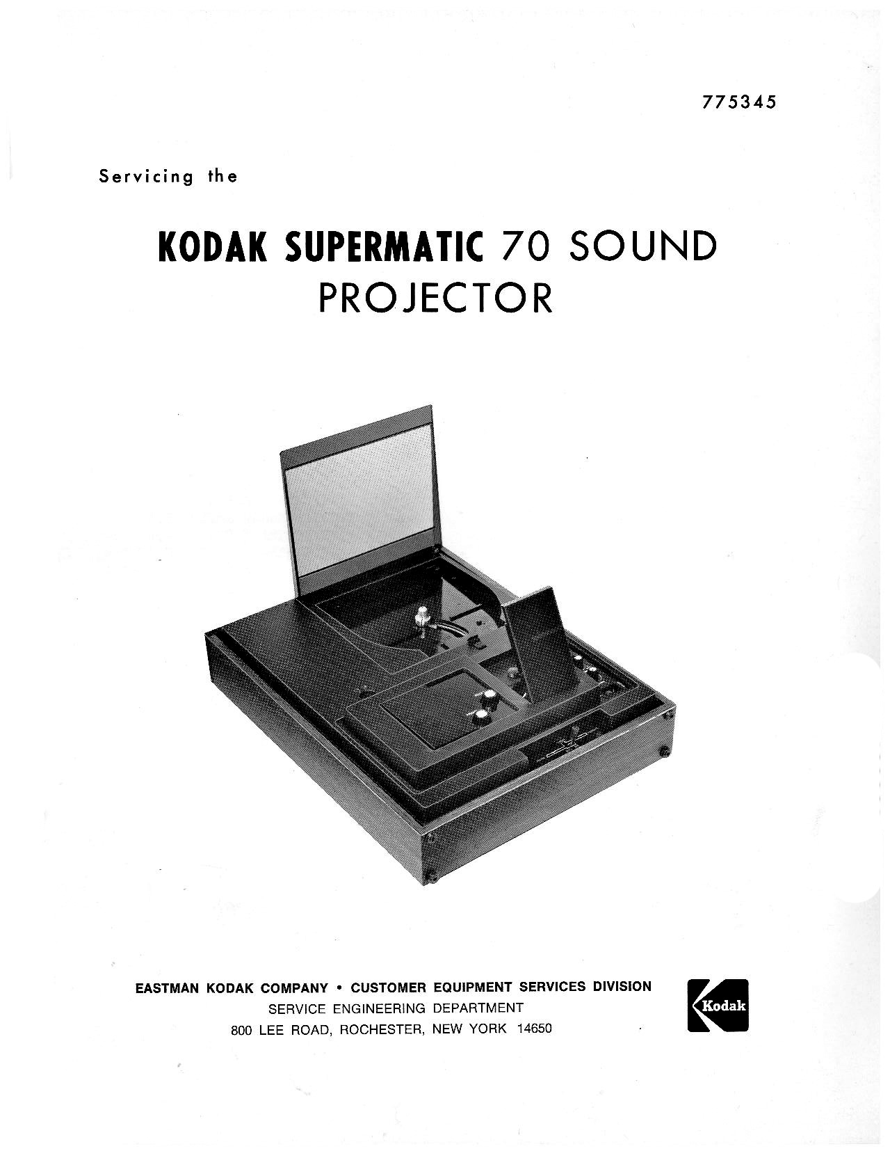 Kodak Supermatic 70 Sound Movie Projector Service And