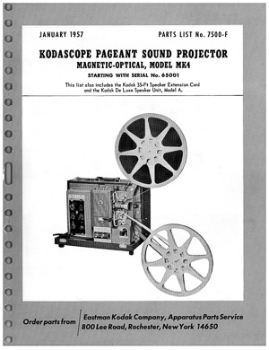 Kodak Pageant Sound Magnetic Optical Model MK4 16mm Movie Projector Manual