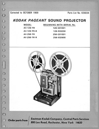 Kodak Pageant Sound Model AV-126. AV-256 16mm Movie Projector Parts Manual