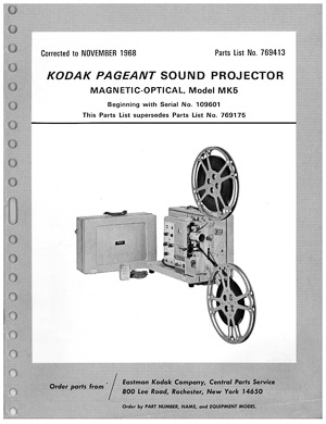 Kodak Pageant Sound Model MK5 16mm Movie Projector Parts Manual