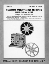 Kodak Pageant Sound Model AV-154. AV-154-S 16mm Movie Projector Parts Manual