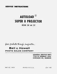 Bell & Howell 356, 357 Super 8 Movie Projector Service and Parts Manual