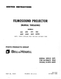 Bell & Howell Filmosound 535, 540, 541, 542 16mm Movie Projector Service Manual