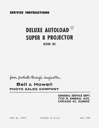 Bell & Howell 482 Super 8 Movie Projector Service and Parts Manual