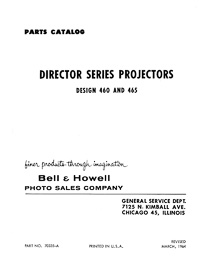Bell & Howell 460, 465 Director Series 8mm Movie Projector Parts Manual