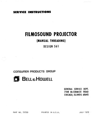 Bell & Howell 561 Filmosound 16mm Movie Projector Service and Parts Manual