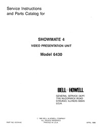 Bell & Howell 6430 Showmate 4 Video Presentation Unit Service and Parts Manual