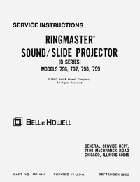Bell & Howell B Series Ringmaster Sound Slide Projector Service and Parts Manual