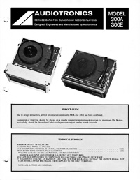 Audiotronics Record Player 300A, 300E Service Guide