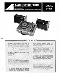 Audiotronics Record Player 340ST Service Guide