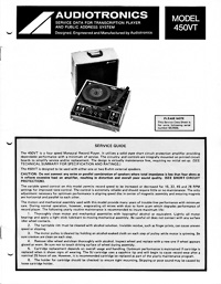 Audiotronics Record Player 450VT Service Guide