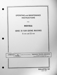 Moviola Series 20 Film Editing Machine Owners Manual