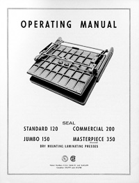 Older Model Seal Dry Mount Laminating Press Owners Manual