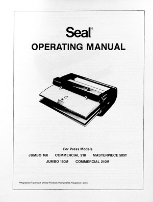 Seal Dry Mount Laminating Press Owners Manual