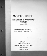 CPAC SilvPAC Mini BF Silver Recovery Unit Installation & Operating Manual