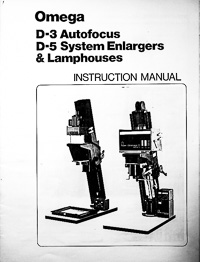 Omega D-3 Autofocus & D-5 Photo Enlarger Owners Manual