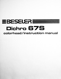 Beseler Dichro 67S Colorhead Owners Manual
