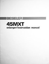 Beseler 45MXT Photo Enlarger Owners Manual