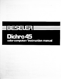 Beseler Dichro 45 Colorhead Owners Manual