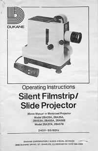 Dukane Silent Filmstrip / Slide Projector Owners Manual