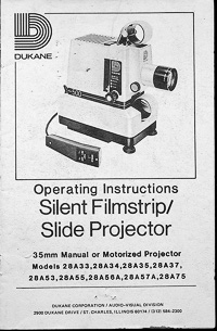Dukane 500 Silent Filmstrip / Slide Projector Owners Manual