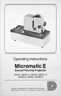 Dukane Micromatic II Sound Filmstrip Projector Owners Manual