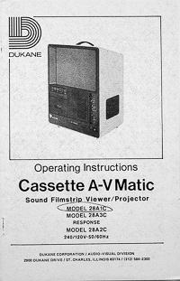 Dukane Cassette A-V Matic Sound Filmstrip Projector Owners Manual
