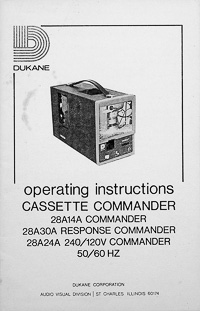 Dukane Cassette Commander Cartridge Filmstrip Viewer Owners Manual