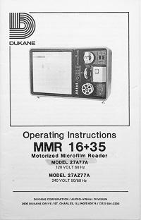 Dukane MMR 16+35 Motorized Microfilm Reader Owners Manual