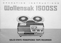 Wollensak 1500SS Solid State Tape Recorder Owners Manual