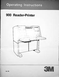 3M 900 Microfiche Reader - Printer Owners Manual