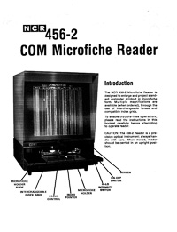 NCR 456-2 COM Microfiche Reader Owners Manual