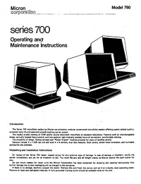 Micron Series 700 Microfiche Reader Operating amd Maintenance Instructions