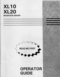Microimage Display XL10, XL20 Microfiche Reader Operator Guide