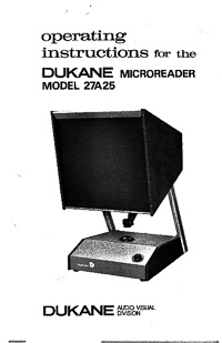 Dukane Microreader Model 27A25 Operating Instructions